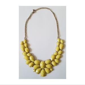 Bright Yellow Chunky Bib Style Statement Necklace